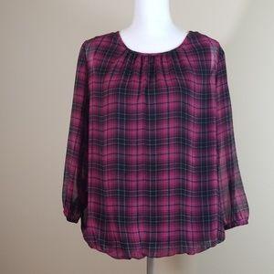 C J Banks plaid blouse size X 14W